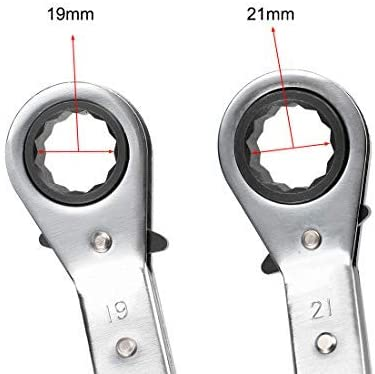 reversible ratchet wrench 19mm x 21mm offset double box end Cr-V