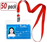 Aobear 50 pcs Upgrade Top Quality Waterproof Transparent Horizontal Name Tag id Badges and 50 pcs lanyards (Red)