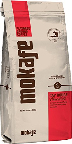 Mokafe Cap Rouge Chocolate Flavored - Ground Organic Gourmet Coffee - Medium Dark Roast Premium Haitian - 100% Exotic (Chocolate Ground Wine)
