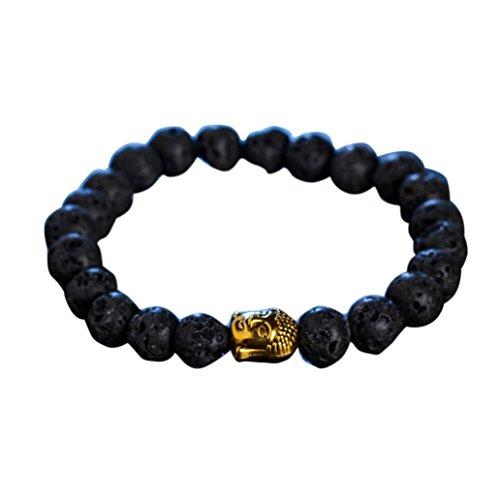 Bracelet Beaded Obsidian (Clearance Deal! Hot Sale! Bracelet, Fitfulvan 2018 Obsidian Special Bracelet Buddha Head Gold Bracelet Lava Stone Bead Bracelets Jewelry (black))