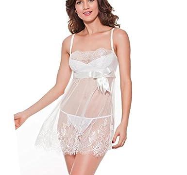 e00292c4b satin women lingerie hot nightwear sleepwear nightie negligee nightgown  costume babydolls white bridal lingerie Beige XXXL: Amazon.in: Clothing &  ...
