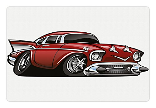 Lunarable Boy's Room Pet Mat for Food and Water, Classic Vintage American Muscle Car Fancy Old Fashion Famous Icon Graphic Print, Rectangle Non-Slip Rubber Mat for Dogs and Cats, Grey Ruby Famous Icon