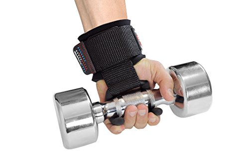 Best Weight Lifting Rod Hooks Heavy Duty Wrist Wraps Power Weight Lifting Training Gym Grips Straps Set of 2 (BLACK, MEN Wrist Size Large)