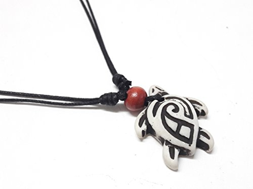 Diy Apple White Costume (Turtle Tribal Pendant Necklace - Hawaiian Turtle Wood Beaded Necklace - Adjustable Black Cord (White))
