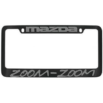 Amazon.com: Mazda Zoom Zoom Black Metal Silver Lettering License ...