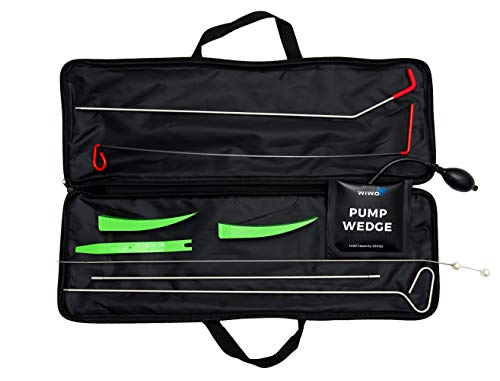 WiWo Full Professional Tool Kit – Emergency Automotive Tools – Long Reach Grabber with Air Wedge, Knobb Grabber, Non-Marring Wedges, Pry Tool – 9 Piece Set with Carrying Case for Car