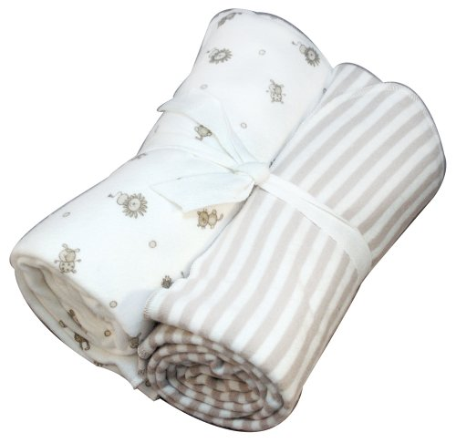 Blankets Nile Cotton Under The - Under the Nile Nature's Nursery Flannel Swaddle Blanket Set, Tan Stripes/Animal Print