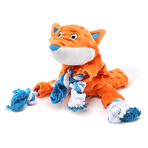 Plush Dog Toy, Fox Pattern Stuffingless Dog Rope Toy with 2 Squeakers for Small Medium Dog Pets by Petfactors