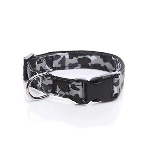 Durable Dog Collar, Nylon Camouflage Adjustable Collar, 1 Inch Wide, for large medium Dog (Black)
