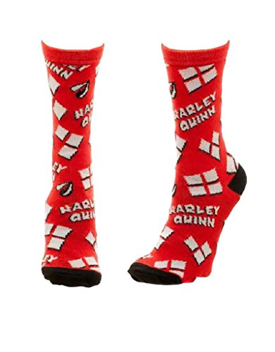 Suicide Squad Socks Harley Quinn Hearts Pattern Official Red (Uk Size 7-9)