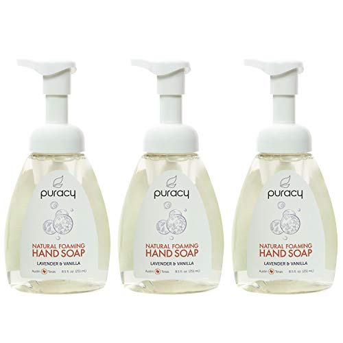 Puracy Natural Foaming Hand Soap, Sulfate-Free Hand Wash, Lavender & Vanilla, 8.5 Ounce ()
