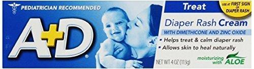 A+D Diaper Rash Cream, Dimethicone Zinc Oxide Cream, 4 oz (113 g) (8PK) by A&D