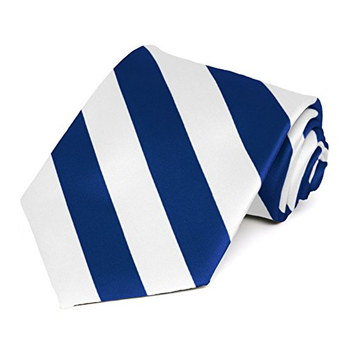 Satin Striped Extra Long Tie - TieMart Royal Blue and White Extra Long Striped Tie