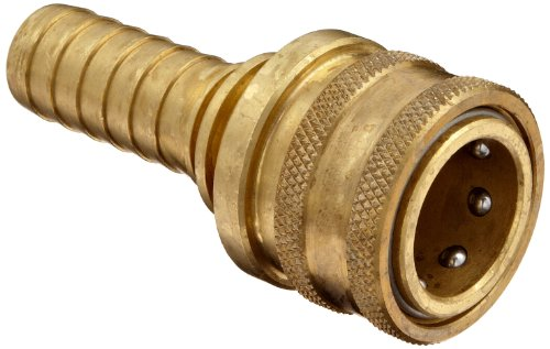 "Dixon 6ES6-B Brass Quick-Connect Hydraulic Fitting, Coupler, 3/4"" Straight Coupling, 3/4"" Hose ID Barbed"