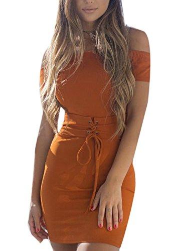 Con Cintura Vestito Delle Bodycon Lace Up Sexy Domple Senza Donne Spalla Arancione Spalline Off Mini qvwWRzO