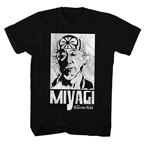 Karate Kid 80's Martial Arts Movie Mr. Miyagi Face Sketch Black Adult T-Shirt -