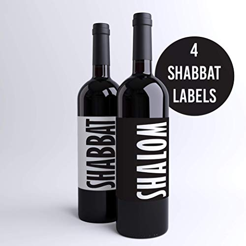Shabbat Wine Labels Jewish Wine Bottle Labels Shabbat Shalom Black & White Labels (Pack of 4+) Jewish Dinner Party Judaica Custom Printed Wine Labels | Made in USA
