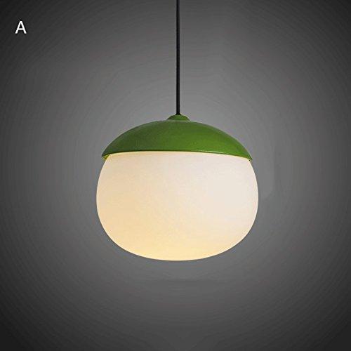 Modeen Postmodern 1-Light Weiß Glas Lampenschirm Hanging Pendelleuchte & Faux-Wooden Metall Top Küche Restaurant Barn Wohnzimmer Verstellbare Kronleuchter Deckenleuchte (Color : Green-A)