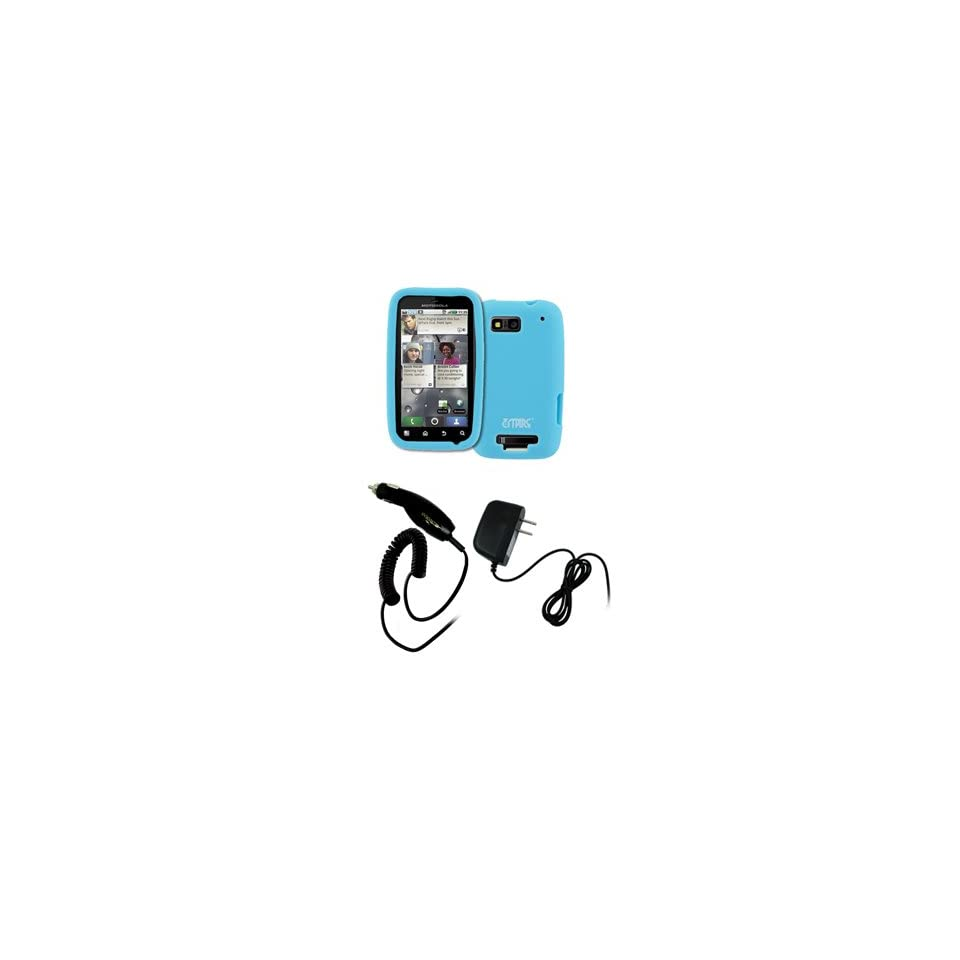 EMPIRE Light Blue Silicone Skin Case Cover + Car Charger (CLA) + Home Wall Charger for T Mobile Motorola Defy MB525