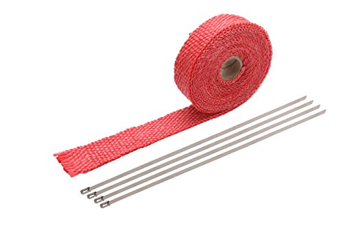 """Price comparison product image PACEWALKER 1"""" x 16' Exhaust Heat Wrap Roll for Motorcycle Fiberglass Heat Shield Tape with 4PC Stainless Ties 1.5mm25mm5m (Red)"""