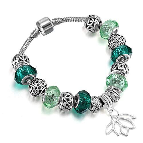 Gift Sun Flower Pendant Colorful Murano Glass Beads Bracelet Bangles Fit Original Women Girl Snake Chain DIY Jewelry style 19