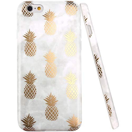 iPhone 6 Case, iPhone 6S Case, JAHOLAN Shiny Gold Pineapple Gray Marble Design Clear Bumper TPU Soft Rubber Silicone Cover Phone Case for iPhone 6 iPhone 6S