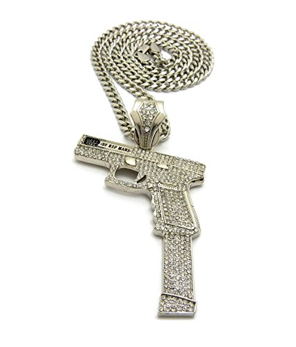 Shiny Jewelers USA MENS ICED OUT HAND GUN HIP HOP PENDANT CUBAN, BOX,ROPE CHAIN NECKLACE (Cuban Chain Silver)