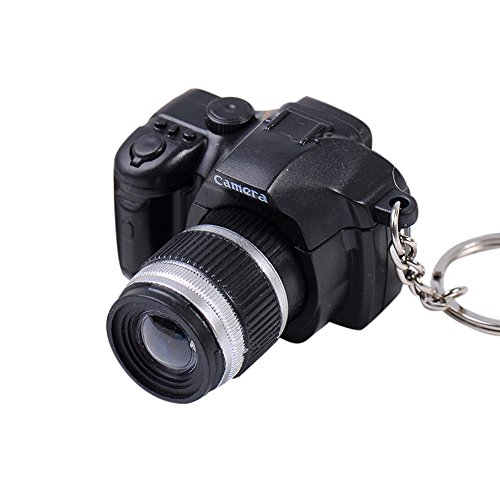 (Matoen Newly Hot Cute Mini Toy Camera Charm Keychain with Flash Light&Sound Gift (Black) )