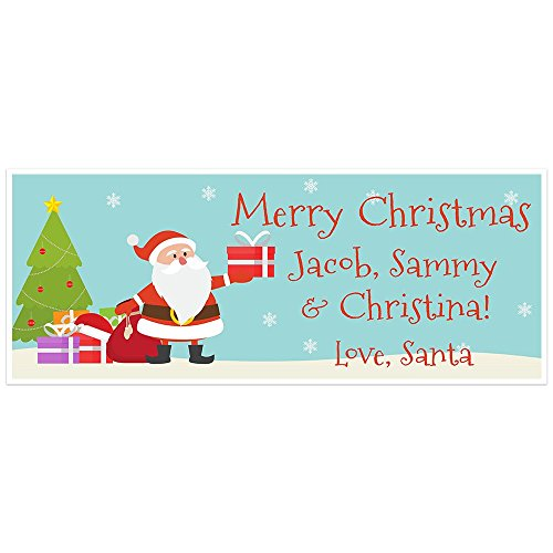 Merry Christmas from Santa and Snowman Holiday Personalized Banner Decoration