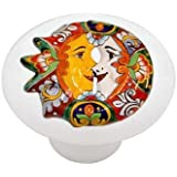 Mexican Talavera Flower Design High Gloss Ceramic Drawer Knob ...