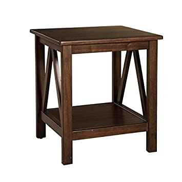Amazon.com: Riverbay Furniture End Table in Antique Tobacco ...
