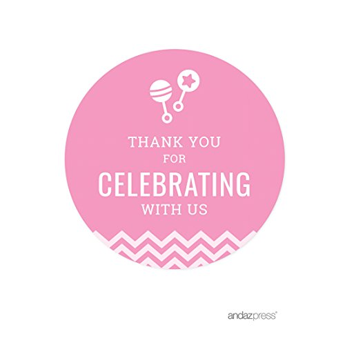 Andaz Press Pink Chevron Girl Baby Shower Collection, Round Circle Label Stickers, Thank you for Celebrating with Us!, 40-Pack by Andaz Press
