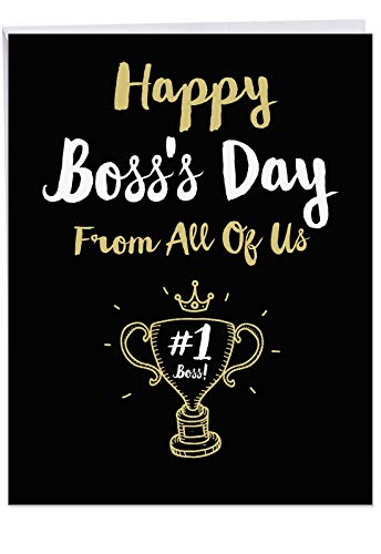 Jumbo Funny Bosss Day Card From All of Us: Happy Bosss Day From All Featuring Work Themed Wishes For Your Manager, with Envelope (Big Size: 8.5 x 11) J5886BOG-US