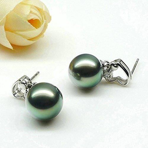 Aooaz Femmes Argent Boucles d'Oreilles Noir Pearl L'amour éternel Boucles d'Oreilles Pendantes