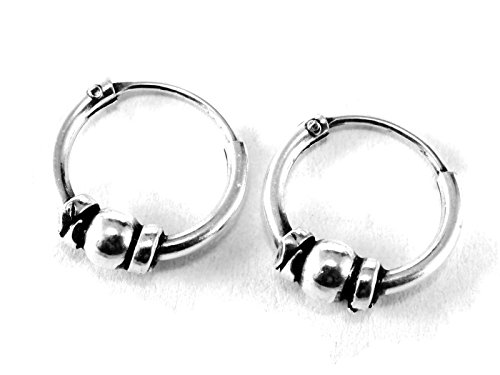 925 Sterling Silver Tribal Bali Earring Hoops Cartilage 3/8