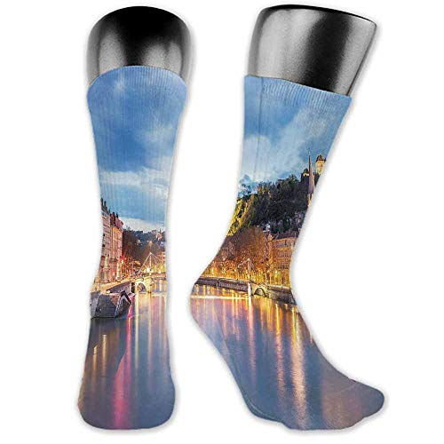 Socks Comfort Free Shopping European,View of Saone River in Lyon City at Evening France Blue Hour Historic Buildings,Multicolor,socks for men under armour