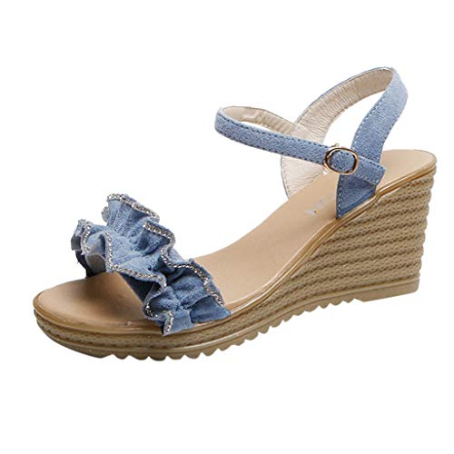 Summer Womens Fashion Lace Sandals Ladies Teens Platform Wedge High Heel Shoes Beach Party Work Daily Leather Sandals (Blue, 6) (Best Off Road Games For Xbox 360)