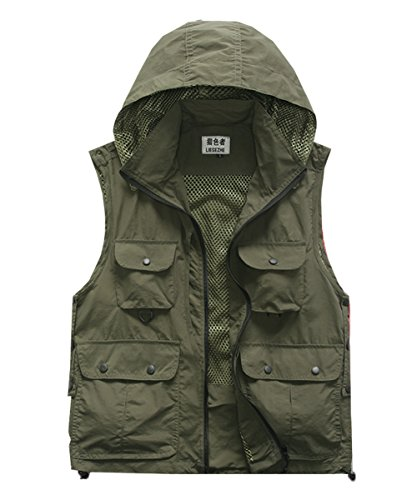 M2C Mens Hooded Mesh Multiple Pockets Traveling Vest M Army Green ()