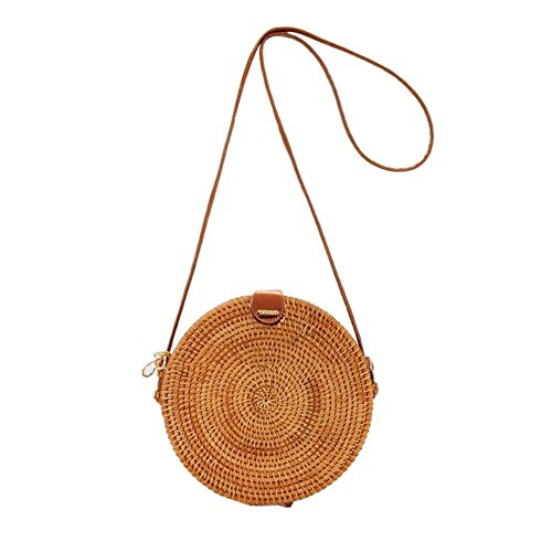 Organizer Circular Straw Crossbody Small Handmade Fashionable Handbag Bohemian Beach Bag Bag Round Rattan Retro Braided Woven Bag Bag Shoulder Storage Household 7XwOqR