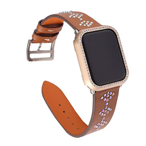 (Sodoop Leather Bands Compatible for Apple Watch 38mm 40mm, Luxury Bling Rhinestone Genuine Leather Strap Replacement Bracelet Wristband for iWatch Series 4/3)