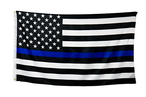 Stiletto Black Woods (Thin Blue Line Flag (3 By 5 Foot) - Large US Flag With Brass Grommets - 100% Super Polyester Material - Black White and Blue American Police Flag Honoring Law Enforcement Officers)