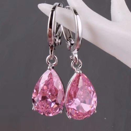 suwanpoomshop New~ Women's Fashion 925 Solid Silver Pink Sapphire Stud Hoop Earrings Jewelry ()