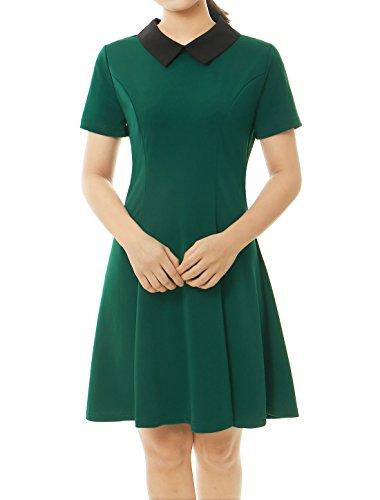 Allegra K Women's Contrast Doll Collar Short Sleeves Flare Dress XL Green - Peter Pan Halloween Costume Funny