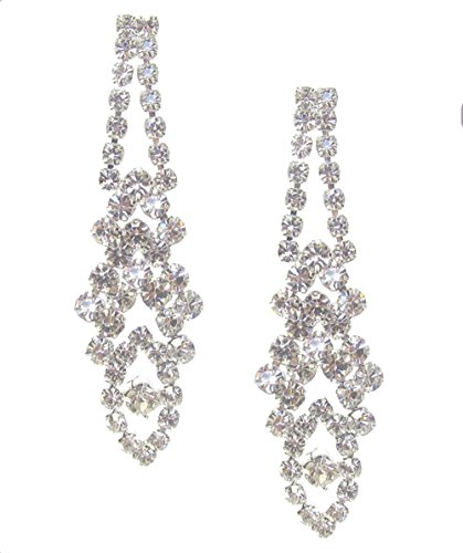 "Narrow Lacy Nouveau Look Delicate Clear Rhinestone Marquis-Shaped Dangle Drop Earrings 2"" Long (Marquis Shaped Earrings)"