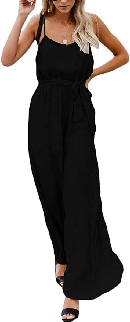 Sweatwater Womens Sleeveless Casual Spaghetti Strap Bandage Wide-Leg Pants Romper Jumpsuits