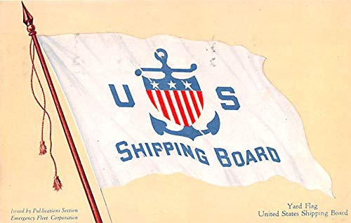 Military Battleship Postcard, Old Vintage Antique Military Ship Post Card Yard Flag, United States Shipping Board 1918