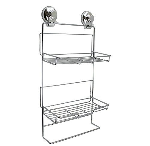 Push to Lock Strong Suction Double Basket Organizer Shower Caddy Rack for Bath Bathroom Kitchen – Stainless Steel Chrome