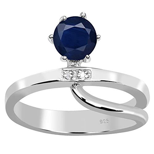 Sapphire & Diamond Wedding Ring By Orchid Jewelry : Anniversary And Engagement Rings For Women, Multi Birthstone Promise Ring For Her, Sterling Silver Gemstone Fashion Rings Size 7 (1.00 Ctw)