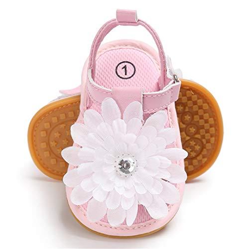 Lafegen Infant Baby Girls Sandals Summer Sandals Flower T-Strap Anti-Slip Rubber Sole Newborn First Walkers Shoes(12cm,6-12months,B-Pink ()