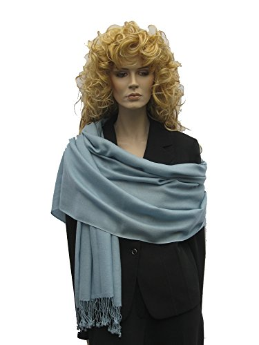 Scarf/Shawl/Wrap/Stole/Pashmina Shawl in solid color from Cashmere Pashmina Group (Blue Grey)